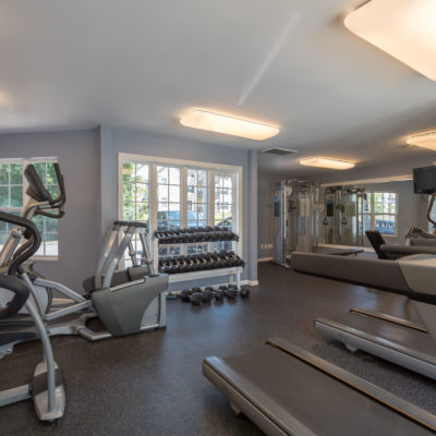 Enjoy the amenities like our on-site gym at Windshire Terrace apartments