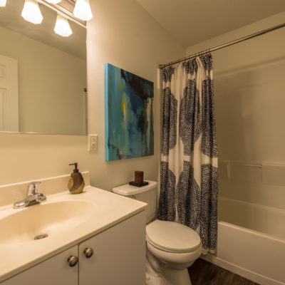 Modern decorated bathroom in middletown apartments at Windshire Terrace