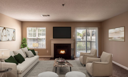 A warm fireplace glowing inside a luxurious living room at Windshire Terrace