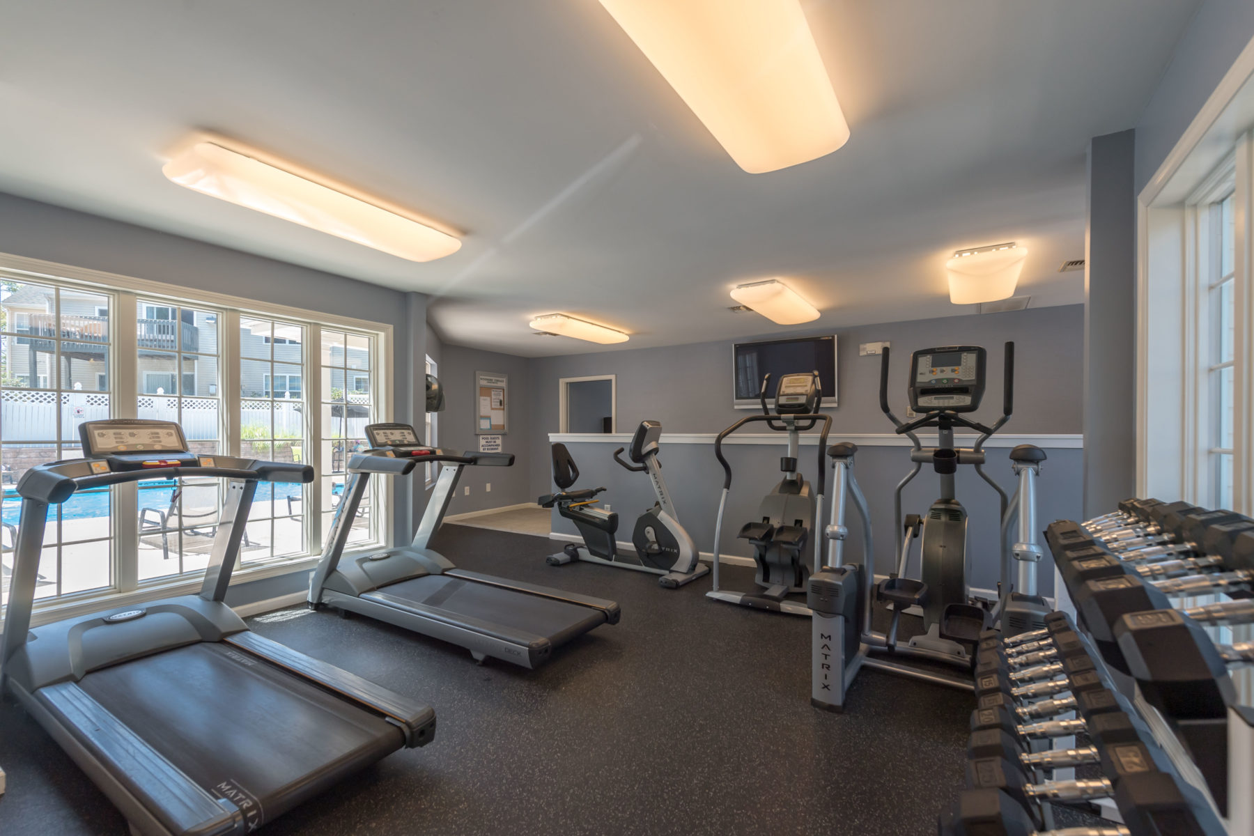 Professional fitness center with treadmills and free weights